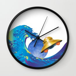 Hokusai Rainbow, UFO & the Moon  Wall Clock