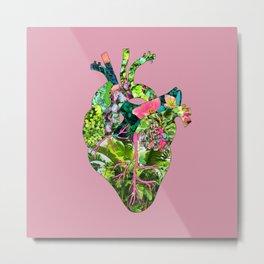 Botanical Heart Pink Metal Print
