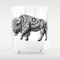 bison Shower Curtains featuring Bison by BIOWORKZ
