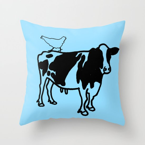 Cow and Chicken Throw Pillow