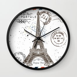 Art hand drawn design with Eifel tower. Old postcard style Wall Clock