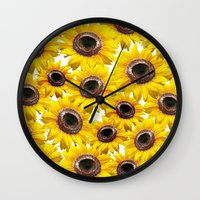sunflowers Wall Clocks featuring Sunflowers by Regan's World