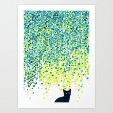 Cat in the garden under willow tree Art Print