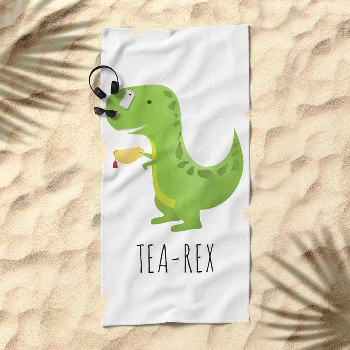 Tea-Rex Beach Towel