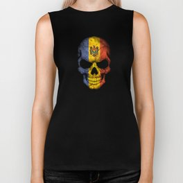 Dark Skull with Flag of Moldova Biker Tank