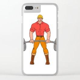 Buffed Lumberjack Lifting Weights Cartoon Clear iPhone Case