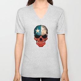 Dark Skull with Flag of Chile Unisex V-Neck