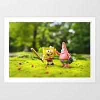 spongebob Art Prints featuring Spongebob & Patrick by m4Calliope