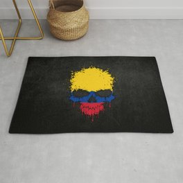 Flag of Colombia on a Chaotic Splatter Skull Rug