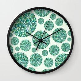 Green round Gem Pattern Wall Clock