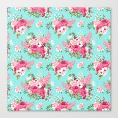 Cottage Chic Pink and Red Roses on Turquoise Linen Canvas Print