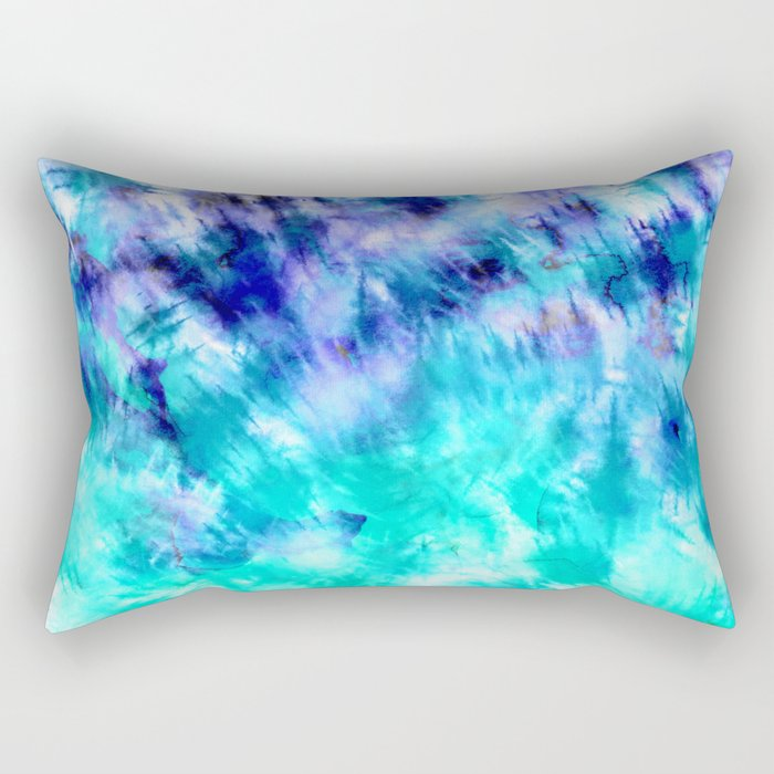 modern boho blue turquoise watercolor mermaid tie dye pattern Rectangular Pillow