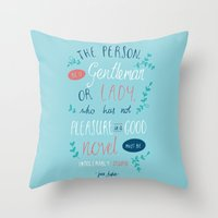 jane austen Throw Pillows featuring Jane Austen - Good Novel by Abbie Imagine