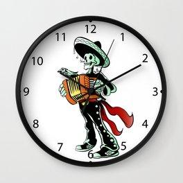 Skeleton mariachi musician. Wall Clock