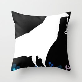 White crow | Mag pie | Gothic Key | Crow on flowers | Black Throw Pillow