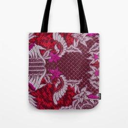 Bali Batik red pink Tote Bag