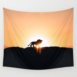 Lion Sunset Silhouette (Color) Wall Tapestry