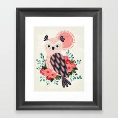Owl and Blossoms Framed Art Print