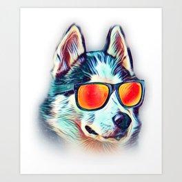 SIberian Husky Colorful Neon Dog Sunglasses Art Print