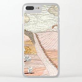 Landscape in powder pink Clear iPhone Case
