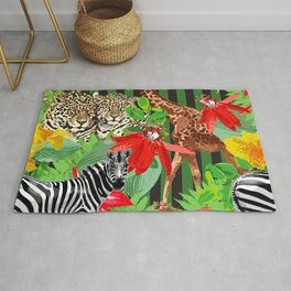 Wild Animals Jungle Pattern Rug