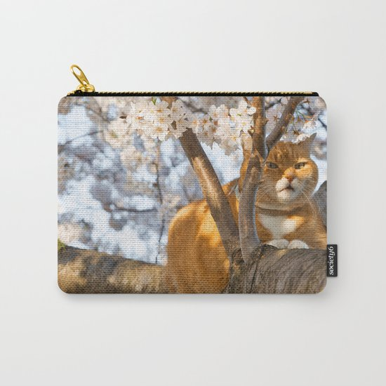 Ginger Cherry Blossom Cat Carry-All Pouch