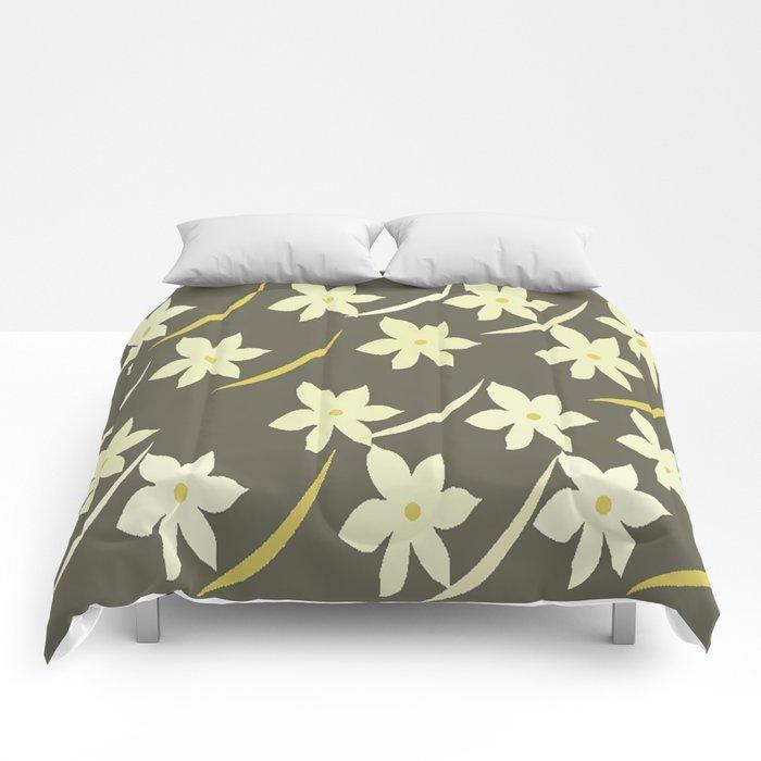 Golden Flower Abstract Comforters