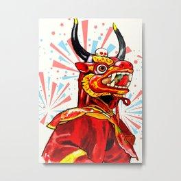Dragon and Fireworks Metal Print