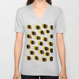 Abstract Yellow Blots pattern Unisex V-Neck