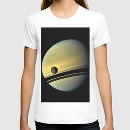 Saturn and its Moon Titan in Orbit Telescopic Photograph T-shirt
