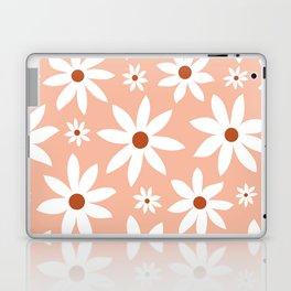 Fun, Modern, Flowers Print, Pink, Terracotta, White Laptop & iPad Skin