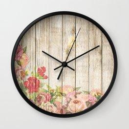 Vintage Rustic Romantic Roses Wooden Plank Wall Clock