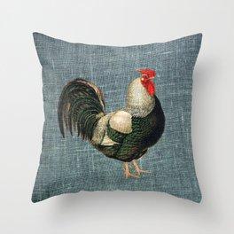 Cockerel on blue Throw Pillow