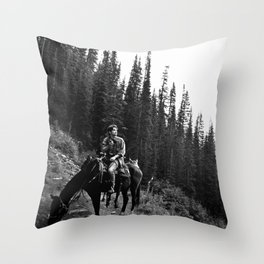 Man on a Horse Throw Pillow
