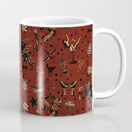 Retro tattoo, sailor tattoos, pin up, rockabilly red Coffee Mug
