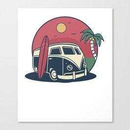 Simple Life Vintage Beach Palm Tree Surf Bus  Canvas Print