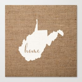 West Virginia is Home - White on Burlap Canvas Print