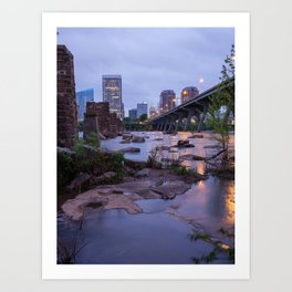 Moody Richmond Cityscape From The James River Art Print