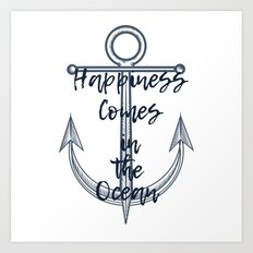 Happiness comes in the ocean Art Print