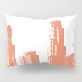 Orange Los Angeles skyline Pillow Sham