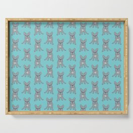 Come Pet The Cute Blue French Bulldog Puppy Digital Art Serving Tray