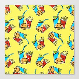 Fun Fast Food (seamless pattern in yellow) Canvas Print