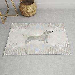 Dachshund dog  - Doxie pearl silhouette Rug