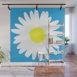 Blue Daisy (Yellow) Wall Mural
