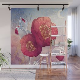 Christmas Roses :: Red Petals, Frosted Leaves Wall Mural