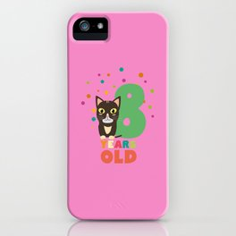 Eight Years 8th Birthday Party Cat T-Shirt D14m7 iPhone Case