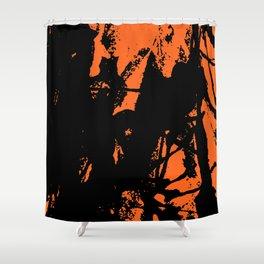 Orange Base black Shower Curtain