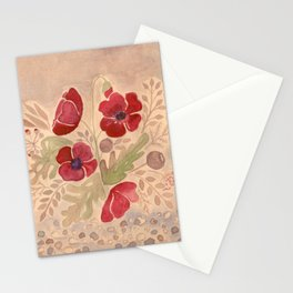 Watercolor poppies on old paper . Stationery Cards