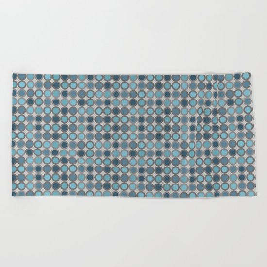 Grey blue circle 6 Beach Towel