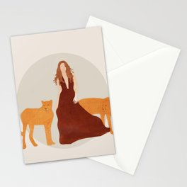Woman with Cheetahs Stationery Cards